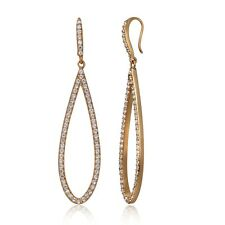Rose Gold Tone over Sterling Silver Cubic Zirconia Teardrop Dangle Earrings