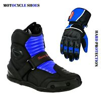 Motorbike Motorcycle Racing Shoes with Real Leather Gloves TPO Hard Protection