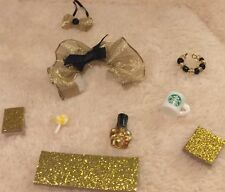 LPS-Gold Sparkle Outfit Keyboard Phone Bow Collar Nail Polish-Accessories Lot