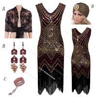1920s Flapper Dress Womens 1930s Vintage Gatsby Charleston Party Sequin Dresses