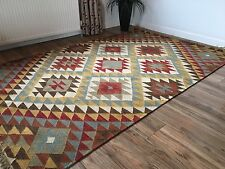 ❤️ Kazak Geometric Wool Cotton Kilim Rug 150cm x 240cm Large Weave Fair Trade