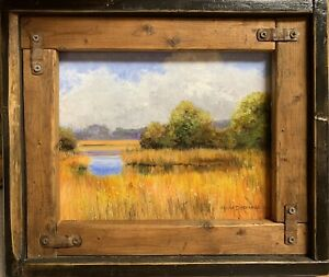 original FRAMED painting on Canvas  ACRYLIC Marsh MAKE AN OFFER