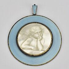 Antique Sterling Silver Guilloche Enamel Mother of Pearl Cameo Pendant w. Cherub