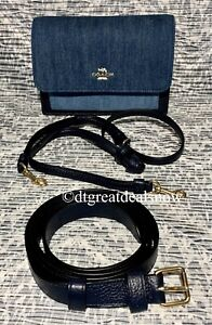 NEW Coach Denim Foldover Belt Bag C3325 Blue Denim $328