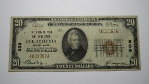 $20 1929 Philadelphia Pennsylvania PA National Currency Bank Note Bill Ch. #539