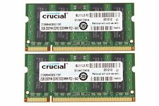 Crucial 4GB 2X 2GB 2Rx8 PC2-6400S DDR2 800MHz 200PIN SODIMM Laptop Intel Memory