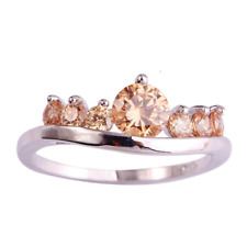 Ring  size S 9ct White Gold GF Champagne Morganite Eternity Gift Holiday