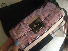 £340 genuine KARL LAGERFELD leather metalic  pink Clutch Bag BNWT & dust bag