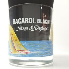 VTG Bacardi Black Rum Stars Stripes Drink Glass Tumbler Bar Americas Cup Sailing
