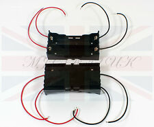 NEW DIY PLASTIC BATTERY STORAGE with 4 LEADS CASE BOX HOLDER for 2 x 18650 UK
