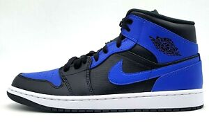 Sz 11 Men's Nike Air Jordan 1 Mid 'Hyper Royal' Black 554724-077 NIB