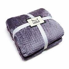 Luxury Soft Plush Purple Throw Blanket for Sofa Couch   Velvet Fleece Chevron.