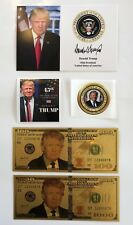 "1 President Donald Trump 4""x6""..on Card Stock..Photo Picture+ 2 Decals + 2 Bills"