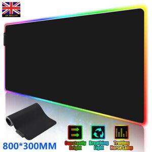 800*300 LED UK Gaming Mouse Pad Computer Big Mouse Pad RGB PC Desk Play Mat New