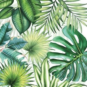 Paper party Napkins Tropical Leaves White Pack Of 20 3 Ply Luxury Serviettes