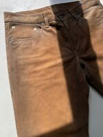Polo Ralph Lauren Roughout Suede Leather Pants Size 32x34 34x34 Brown Slim Fit