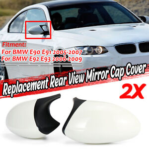 1 Pair Rear View Mirror Cover Cap  M3 Style Glossy White For BMW E90 E91 E92 E93