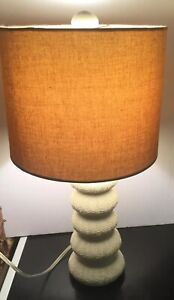 "Shell Sea Urchin Lamp Table Bedside 20"" tall w/ Sea Urchin Finial & Lamp Shade"