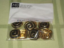 10 New Gold Metal and Black Enamel Square Swirl Buttons M&J Trimming