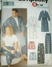 """Simplicity 5314 Sewing Pattern Men Misses 2 Hr Robe Pajama S-M-L Chest to 50"""""""