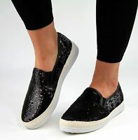 Ladies Womens Flat Slip On Summer Pumps Skate Fashion Trainers Shoes Siz