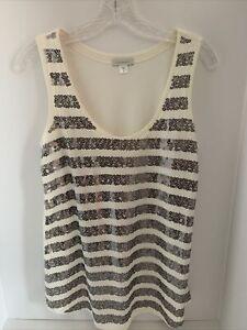Garnet Hill Paillette Tank Top Sequin Sleeveless Ivory Cotton Blend Women M