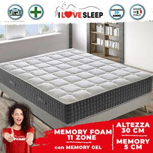Materasso Matrimoniale 160x190 Memory Foam Alto 30 cm - CON GEL TERMICO 11 Zone