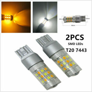 2x T20 7443 2835 42 SMD LED Bulb Dual Color White / Amber Car Turn Signal Lights