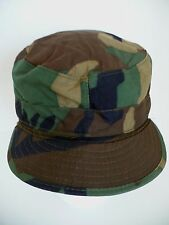 Green Combat Woodland Camouflage Military Hat Cap w Ear & Neck Flap. Size 7 1/4