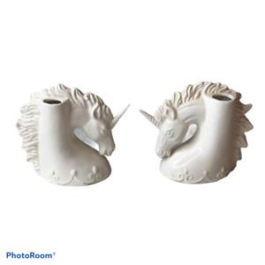 Vintage White Unicorn Novelty Ceramic Vase  Set of Two