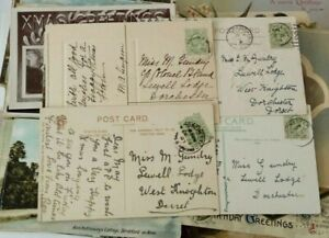 Postcard collection of May Gundry of Lewell Lodge nr Dorchester Dorset 78 cards
