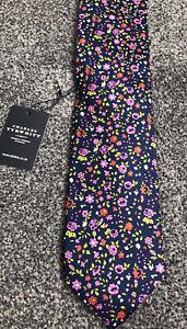 Charles Tyrwhitt navy blue pink multi floral 100% silk smart tie unused with tag