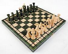 NUEVO Kingdom hecho a Mano Viaje Juego de ajedrez de madera 28cm/27.9cm Verde