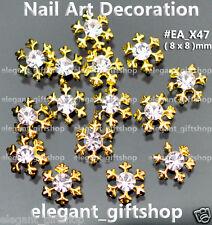 10pcs Christmas Snow Flake Gold Alloy Jewelry 3D Nail Art Tips Decoration#EA_X47