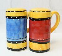 Tabletops Bohemian Stripe Hand Painted Salt Pepper Shaker Set Discontinued