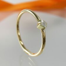 A755d Verlobung Ring 585 14K Gold Diamant Princess Schliff 0,05 ct Gr.57