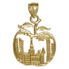 New 14k Gold New York City Big Apple Pendant