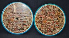 """2 1980 6"""" Pinback Buttons With Images Of Assorted Political Pinbacks"""