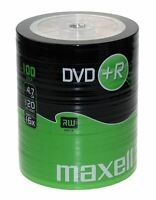 Maxell DVD+R 120 Mins 4.7GB 16x Speed Recordable Blank Discs - 100 Pack Shrink