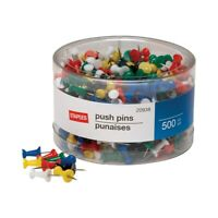 Staples Push Pins Assorted Colors 500/Tub 480118
