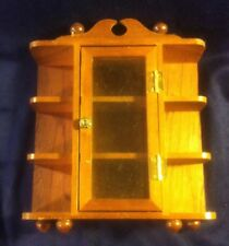 VNTG Wooden Trinket Wall Shelf Display Curio Cabinet W Glass Door 8x7x2