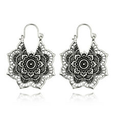 Boho Vintage Hollow Out Mandala Flower Hook Drop Dangle Earrings Golden Silvery