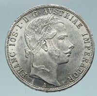 1861 AUSTRIA w KING FRANZ JOSEPH I Eagle Antique OLD Silver Florin Coin i86414