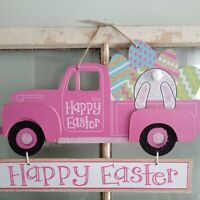 Pink EASTER Hanging Wall Door Sign Shabby Chic Farmhouse Decor Truck Bunny Eggs