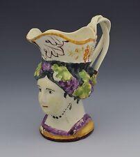 Early Staffordshire Pottery Princess Charlotte Mask Jug c.1817 Creamware
