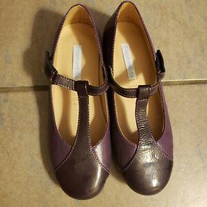 Elephantito Girls Purple T-bar Flats Mary Jane Leather shoes size 2 dressy