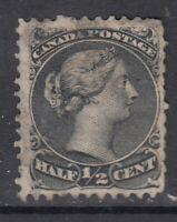 """Canada Scott #21  1/2 cent black """"Large Queen""""    F"""