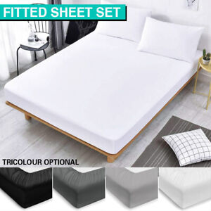 Ultra Soft Fitted Bed Sheet Pillowcases Set Double/Queen/King/King Single Size