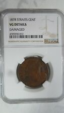 Straits Settlements 1 Cent, 1878, NGC VG Details / Very Rare Key Date