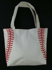 White Baseball Stitch Totes Shopping Bag Tote Mom Purse Carrier Lined Beach NEW